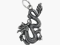 Китайский дракон Подвес из серебра 925 пробы.