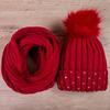 Набор: Шапка вязаная на флисе с помпоном и стразами на отвороте + снуд, красный