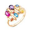Позолоченное кольцо с цветными фианитами - 922 - п