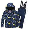 Подростковый для мальчика зимний горнолыжный костюм темно-синего цвета 8915TS