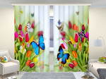 Фотошторы люкс Бабочки на тюльпанах