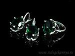 Кольцо серьги с цирконом искусственным, цв.зеленый размер 18 Артикул:КС516037-18
