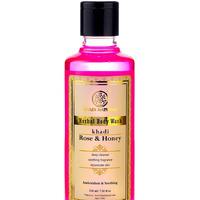 Антиоксидантный и успокаивающий гель для душа Роза и Мед, 210 мл, производитель Кхади; Rose & Honey Herbal Body Wash, 210 ml, Khadi