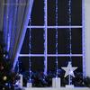 """Гирлянда """"Водопад"""", 2 х 1.5 м, LED-400-220V, 8 режимов, нить прозрачная, свечение бело-синее"""