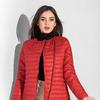 Укороченная куртка-косуха на синтепоне (150) с классическим круглым вырезом, длинным рукавом, асимметричной застежкой и глубокими боковыми карманами в швах.
