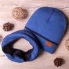 Набор: Шапка+снуд вязаные на флисе, с цвеным кантом, синий