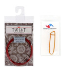 """ChiaoGoo Cable 37"""" (94cm) Bundle with Key for Twist Red Lace Interchangeable Small Knitting Needle Set Bundle with 1 Artsiga Crafts Stitch Holder 7537-S"""