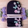 Набор: шапка формы лопата+снуд из двойного трикотажа, цветы, тёмно-синий