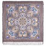 """Платок шерстяной с шелковой бахромой """"Музыка моря"""", вид 1, 146x146 см Рисунок 1755-1"""