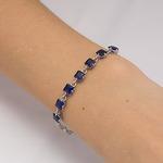 Серебряный браслет с синими фианитами - 652