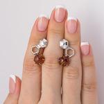 Серебряные серьги с янтарем - 1058