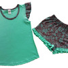 Пижама для девочки (футболка+шорты) Buttoni бирюза