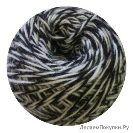 Пряжа Карачаевская 50г цвет черно-белый