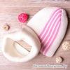 Набор: Шапка+снуд вязаные с вертикальными полосками, молочная с розовым