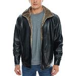 APRAW Men's Lether Jacket Coat Faux PU Fur Warm Outwear Winter Sale Big Tall