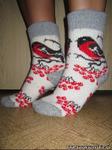 Женские шерстяные носки круговой вязки с рисунком(снегирь)