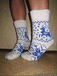 Женские шерстяные носки круговой вязки с рисунком(олень)