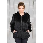 Куртка с капюшоном из вязаной норки Артикул:Ol-A106-CH