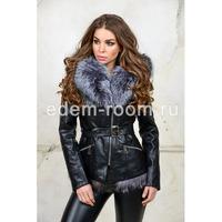 Куртка из эко-кожи с меховым капюшонм Артикул:RL-212-CH