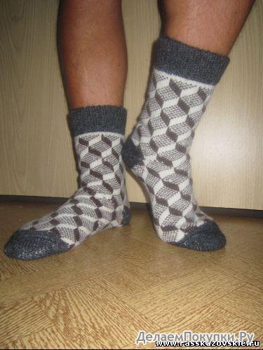 Мужские шерстяные носки круговой вязки с рисунком(плетенка)