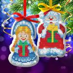 """Новый год, вышивка крестиком на елочной подвеске """"Дед Мороз и Снегурочка"""", основа 25*35 см 2 ШТУКИ"""
