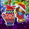 """Новый год, вышивка крестиком на елочной подвеске """"Щенок и варежка"""", основа 25*35 см 3 ШТУКИ"""
