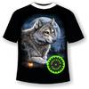 Подростковая футболка Волк и костер 915