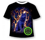 Подростковая футболка Волк пламя №753