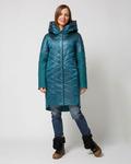 Комбинированное пальто изумрудный