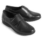 Туфли летние женские, увеличенная полнота, натуральная кожа, черные