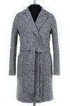 Пальто женское демисезонное(пояс) Твид Бело-черный
