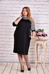 Трикотажное черное платье с полоской | 0615