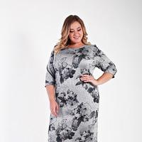 Платье базовое из джерси меланж, серый принт, размер 48-76