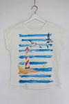 Блуза льняная базовая со спущенным плечем Мечты о море