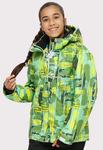 Подростковая для девочки зимняя горнолыжная куртка салатового цвета 1774Sl