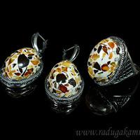 Набор с янтарём мозаика кольцо, серьги овал 21*28мм, размер 18 Артикул:ЯКС1786.-18