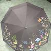 Зонт женский автомат, коричневый и цветочный принт