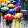 Картина по номерам без бренда «толпа разноцветных зонтов»