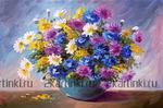 Картина по номерам Номерашка (Paintboy) «романтический букетик в круглой вазе»