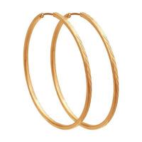 Позолоченные серьги конго с алмазной гранью диаметр 50 мм - 1084 - п