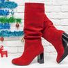 Сапоги-гармошки на сборке свободного одевания из натуральной замши ярко-красного цвета, на черном глянцевом каблуке, Коллекция Осень-Зима 2018-2019, М-17400/2-05