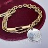 Золотистый женский браслет с монеткой