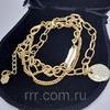 Золотистый матовый браслет с подвесками
