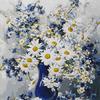 В пути! RDG-0354 Ромашки в синей вазе картина по номерам 40х50
