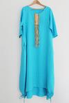 Платье двухслойное украшенное шнурами льняное