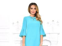 Платье однотонное светло голубое с бантиком