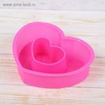 """Форма для выпечки 2 ячейки 19,5х15х5 см """"Сердце в сердце"""", цвет МИКС"""