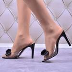 Женские прозрачные босоножки на каблуке