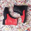 Черно-красные ботинки на шнуровке