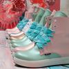 Мятно-розовые дизайнерские ботинки